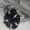 Black Flower Bead Ring