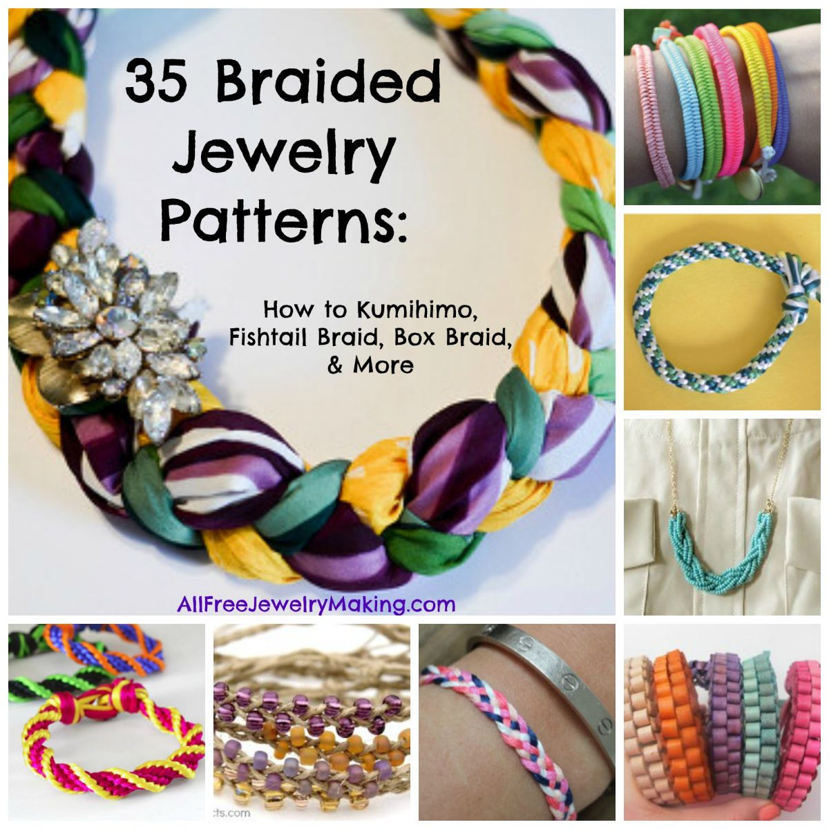35 Braided Jewelry Patterns: How to Kumihimo, Fishtail Braid, Box Braid, and More