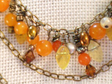 Tangerine Tango Triple Chain Necklace Step 1